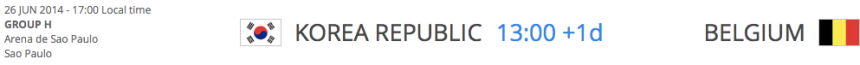 Korea Republic v Belgium
